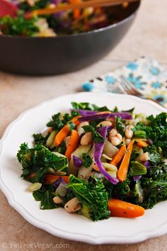 Hot Skillet Salad: Kale and white beans make this a healthy, hearty warm salad. #vegan