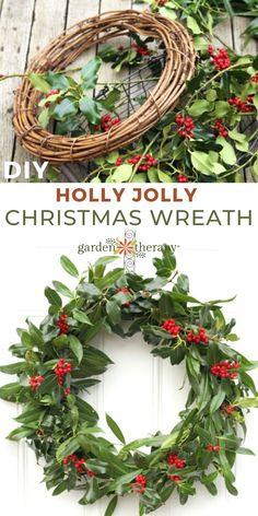 This easy-to-make fresh holly wreath dotted with bright red berries is a traditional way to decorate for Christmas. See how to make one at home in this DIY. #gardentherapy #christmas #wreath #handmadegifts #winterholidays #diy Christmas Garden, Christmas Wreaths, Christmas Crafts, Christmas Decorations, Holly Wreath, Grapevine Wreath, Xmas Food, Red Berries, Christmas Traditions