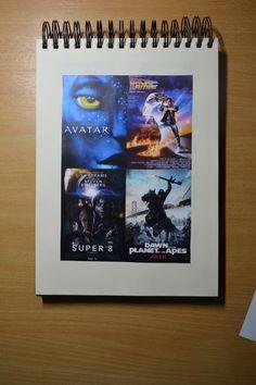 Schetsboek / 4 Verschillende film posters.