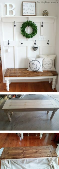 Check out the tutorial on how to make a DIY farmhouse bench @istandarddesign #DecoratingIdeas