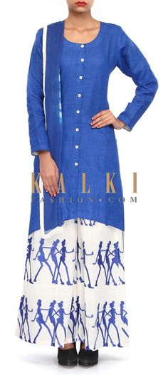 Buy Online from the link below. We ship worldwide (Free Shipping over US$100). Product SKU - 304327.Product Link - http://www.kalkifashion.com/blue-suit-mathced-with-resham-embroidered-palazzo-pant-only-on-kalki.html