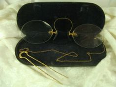 Vtg Antique Eye Glasses Pince Nez Spectacles w/ 14k Gold Chain Hair Pin & Case