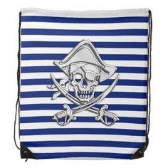 Chrome Pirate Nautical on Navy Stripes Print