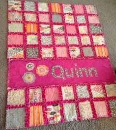 Minky rag quilt.  Put all pink on the back to get pink between each block on the front.