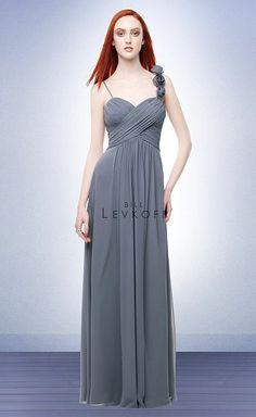 Bridesmaid Dress  Bill Levkoff Chiffon Floor Length Bridesmaid Dress with Flowers 113 image