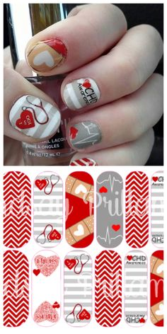 CHD congenital heart defect awareness custom nail wraps by Lindsay Prillaman.  Email me for more info from my business page www.lindsayprillaman.jamberrynails.net  Jamberry NAS DIY nail wraps style