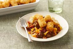 As good as it sounds—a bacon cheeseburger in easy casserole form! Instead of fries on the side, you get golden brown potato nuggets on top.