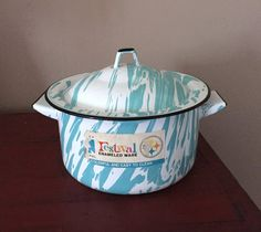 Vintage Aqua Blue White Swirl Graniteware with by AStringorTwo