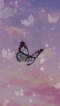 Purple Butterfly Wallpaper, Cute Galaxy Wallpaper, Butterfly Wallpaper Iphone, Bling Wallpaper, Emoji Wallpaper, Iphone Background Wallpaper, Scenery Wallpaper, Disney Wallpaper, Pink Glitter Wallpaper