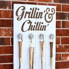 Use a piece of scrap wood and old spigots to create the ultimate grill station accessory holder.   11 Simple Summer Projects Anyone Can Build In Their Backyard