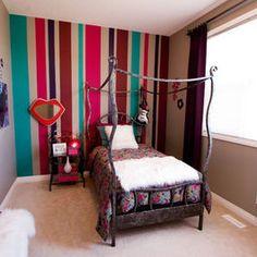 Home Design Lover 20 Stylish Teenage Girls Bedroom Ideas. Like the striped wall. Girls Bedroom, Teenage Girl Bedroom Designs, Girls Room Design, Teenage Girl Bedrooms, Bedroom Themes, Girl Room, Bedroom Ideas, Child's Room, Room Art