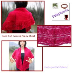 Hand Knit Evening Poppy Shawl by CraftingMemories1 on Etsy
