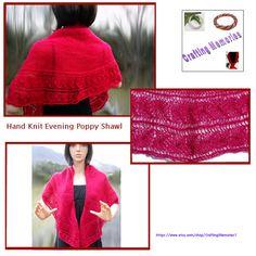 Hand Knit Evening Poppy Shawl by CraftingMemories1 on Etsy @dusamae  #bmecountdown