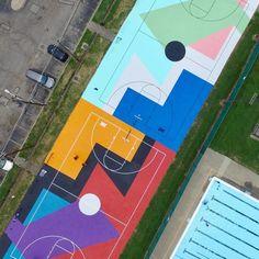 These Basketball Courts Are Giving Us Major Statement Wall Inspo Landscape Architecture, Landscape Design, Sport Park, Green School, Playground Design, Murals Street Art, Statement Wall, Floor Art, Parking Design