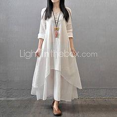 Top Fashion Autumn Women Casual Loose Long Sleeve Dress Cotton Linen Solid Long Maxi Dress Vestidos Plus Size - White, XXXL Love it? Linen Dresses, Women's Dresses, Dresses Online, Casual Dresses, Women's Casual, Loose Dresses, Autumn Casual, Cheap Dresses, Gypsy Dresses