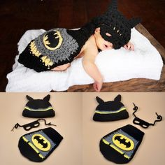 Crochet newborn Batman 3-piece outfit set used for a photo prop. Make awesome…