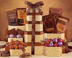Godiva Milk and Dark Chocolate Tower at Wine Country Gift Baskets