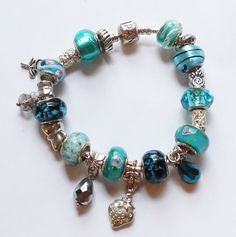 Authentic Pandora Full Charm Bracelet with Aqua or by paststore