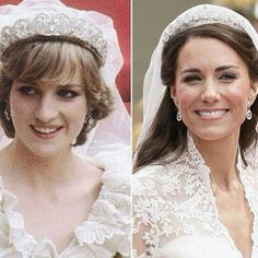 Diana, Princess of Wales on her wedding day, July 29, 1981 and Catherine, Duchess of Cambridge on her wedding day, April 29, 2011.
