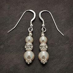 pearl bridal earrings   Handmade Swarovski rondelle and pearl wedding earrings