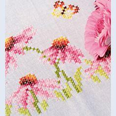 Echinacea and Butterflies - loper - voorgedrukt kruissteekpakket - Vervaco