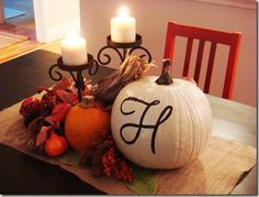 dining rooms, fall table, kitchen tables, dining room tables, monogram, painted pumpkins, fall decorations, table centerpieces, white pumpkins