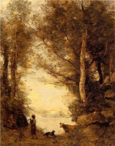 The Piper at Lake Albano - Camille Corot