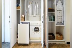 Contemporary Laundry design ideas for a hidden laundry or a custom makeover. Speak with one of our design specialist today about your new laundry. Laundry Cupboard, Room Doors, Cupboard Storage, Cleaning Clothes, Hidden Laundry, European Kitchens, European Laundry, Laundry, Laundry Room Doors
