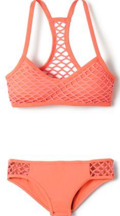coral mesh overlay sporty bikini
