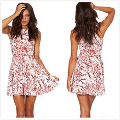 New 2014 Women Brand Summer Bloodstain Print Milk Pleated Dress,Ladies Sexy Blue Mini Causal Beach Dress S M L Free Shipping $24.05