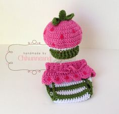 Crochet Strawberry  Hat and Diaper Skirt by handmadebychhunneang, $50.00