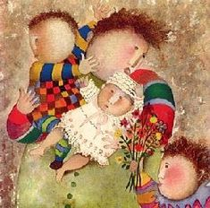 Graciela Rodo Boulanger was born in 1935 in La Paz, Bolivia, and grew up in Oruro, a city 200 kilometers south of La Paz that has for ye. Mary Engelbreit, Mother And Child Painting, Naive Art, Mothers Love, Art Techniques, Vintage Children, Amazing Art, Illustrators, Art For Kids