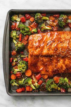 One Pan Baked Teriyaki Salmon and Vegetables | lecremedelacrumb.com