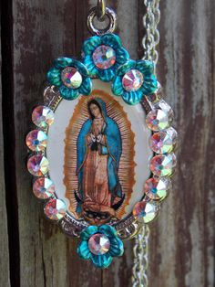 lady of guadalupe bling necklace with flowers by LaCraftyVida