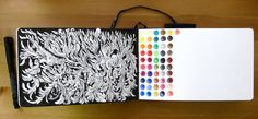 Sketchbook - monochromatic on one side, circles of color on opposite side