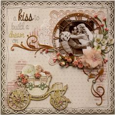 Scrapbook page by Gabrielle Pollacco using Websters Pages In Love collection papers and embellishments (Cover of Australian Scrapbook Idea's Magazine - January 2013)