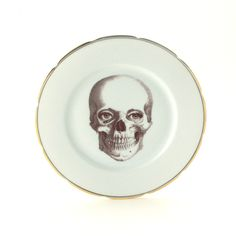 Halloween at DaWanda Altered Skull Eyes Plate Porcelain Anatomy from MonaLina by DaWanda.com