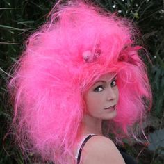 Bright Pink Wig Carnival Wig Art w Birds Nest by TiffanyDeMichele, $170.00