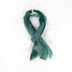 Cobweb Felted Scarf, Handmade Wool Winter Scarf, Green Teal Blue, Long... ($49) ❤ liked on Polyvore featuring accessories, scarves, oblong scarves, woolen scarves, long scarves, wool scarves and teal shawl