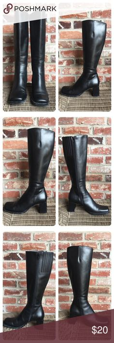 "Sudini Black leather boot. Sudini black leather boot. Inside zipper and stretch panel. About 2.5"" heel. Light wear. sudini Shoes"