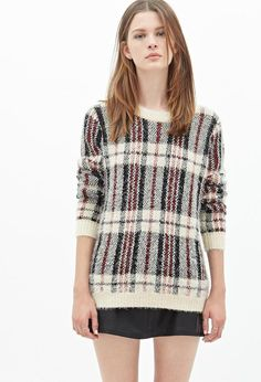 Fuzzy Plaid Sweater http://picvpic.com/women-tops-sweaters-knits/fuzzy-plaid-sweater#Cream~black