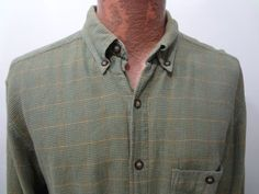 The Territory Ahead Mens L Sage Green Plaid Long-Sleeve Cotton Shirt  #TerritoryAhead #ButtonFront