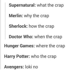 Tumblr- Fandoms. Supernatural, Merlin, Sherlock, doctor who, hunger games, Harry potter, avengers; love this!