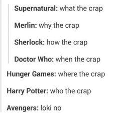 Tumblr- Fandoms. Supernatural, Merlin, Sherlock, doctor who, hunger games, Harry potter, avengers; love this!