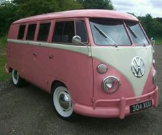 ....told my husband I wanted this soooo bad..and he said okay!!! It's my next car!! pink vw bus volkswagen ☮ re-pinned by http://www.wfpblogs.com/author/southfloridah2o/