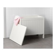 IKEA - SILVERÅN, Storage bench, light brown,  , , There's plenty of room inside the bench to store and organize your towels and other bathroom things.A good solution with space is limited.