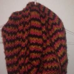 Coral Yellow And Brown Knitted Infinity Scarf