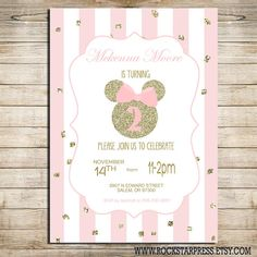 Minnie Mouse Birthday Party Invitation Pink and by RockStarPress