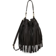 B-Low The Belt Weekender Fringe Bucket Bag - Black featuring polyvore, fashion, bags, handbags, shoulder bags, bolsas, leather weekend bag, weekender bag, black fringe purse, shoulder strap bag and black leather purse