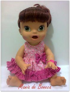 Lindo vestido para as novas Babys de até 35cm.  Confeccionado em tricoline 100% algodão. R$ 24,99